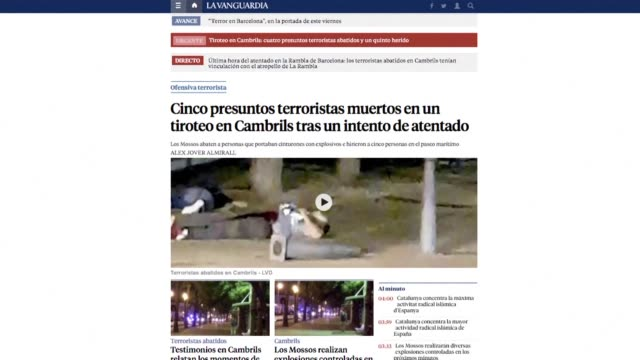of front pages of major spanish news websites showing barcelona and cambrils attacks - cambrils stock videos & royalty-free footage