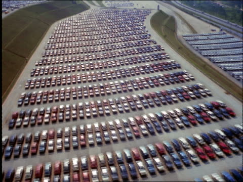 aerial of huge lot of new cars / autolatina / brazil - londonalight stock videos and b-roll footage