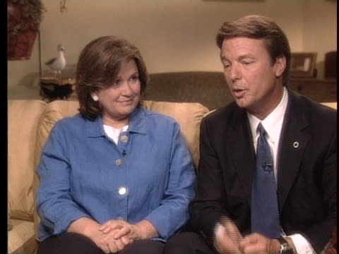of in interview vice presidential candidate north carolina senator john edwards discusses his relationship with wife elizabeth edwards as she looks... - carolina del nord stato usa video stock e b–roll