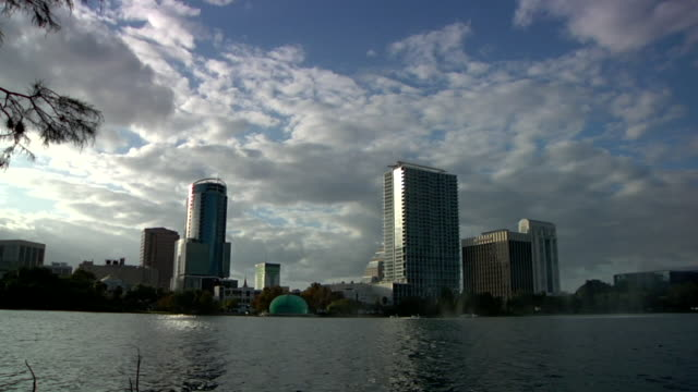 of lake eola with fountain and some buildings of orlando cityscape in bg at sunset silhouetted tree branches bird on water plant in fg - water bird stock videos & royalty-free footage