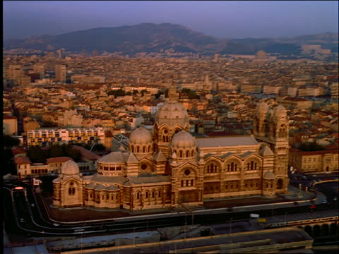 AERIAL of large church in city of Marseilles / Provence / Cathedrale de la Major / France