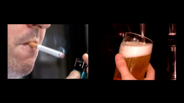 SCREEN of man smoking cigarette / Pint glass of draught Stella Artois beer being poured from tap SPLIT SCREEN of close shot shot of marijuana...