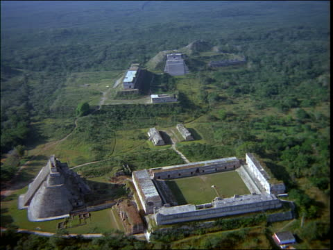 aerial of mayan ruins / uxmal, yucatan, mexico - latin american civilizations stock videos and b-roll footage