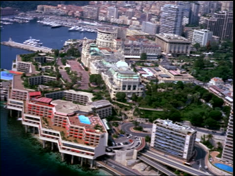 aerial of monaco buildings, harbor, coast / provence, france (riviera) - monaco stock videos & royalty-free footage