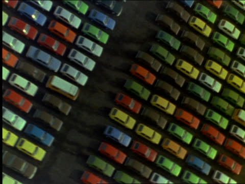 aerial of new cars in parking lots - londonalight stock videos and b-roll footage