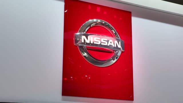 BROLL of Nissan cars signage and their showcase at the Los Angeles Auto Show Nissan Murano hatchback model Los Angeles Auto Show Nissan on November...