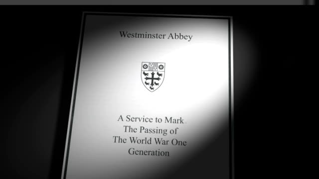 shot of 'order of service' pamphlet for armistice day ceremony at westminster abbey - pamphlet stock videos & royalty-free footage