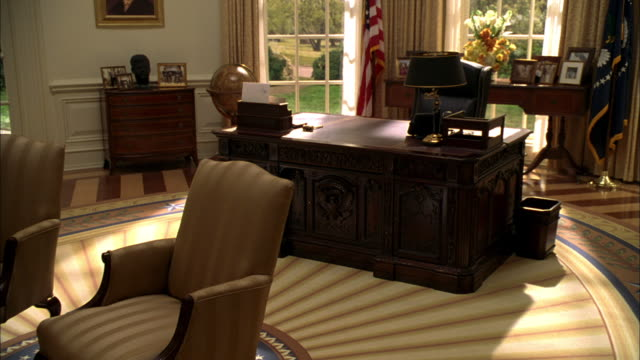 recreation of oval office in the white house - desk stock videos & royalty-free footage