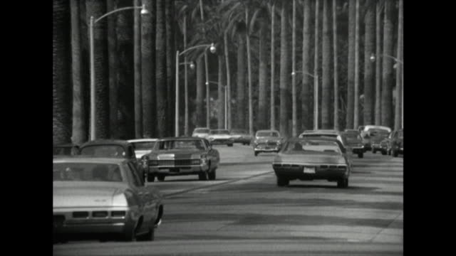 gv of palm tree-lined road in los angeles; 1970 - anno 1970 video stock e b–roll