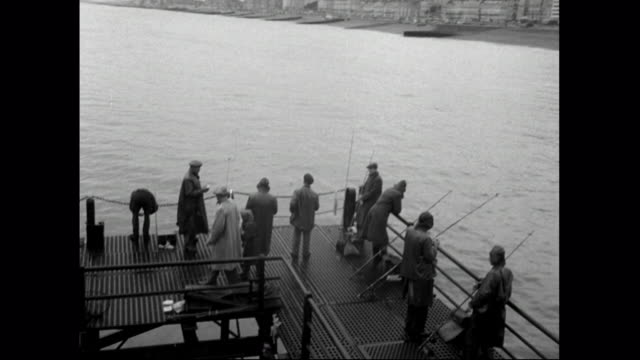 has of people fishing off pier at southend-on-sea;1951 - 1951 stock videos & royalty-free footage