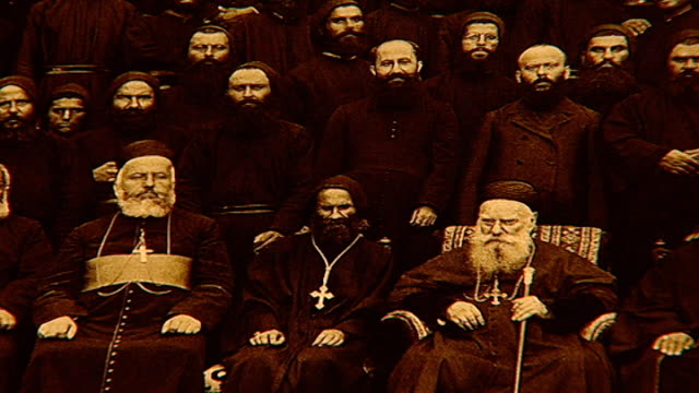 stockvideo's en b-roll-footage met of photograph of patriarch elias boutros hoayek sitting in the front middle. he was the 72nd maronite patriarch of antioch from 1899 to his death in... - sepiakleurig