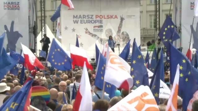 POL: Poland's EU coalition holds a march ahead of EU election