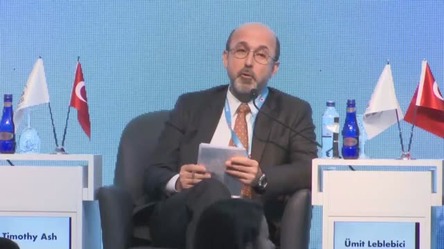 ceo of private turkish lender teb bank umit leblebici delivers a speech during uludag economy summit in turkey's bursa province on march 22 2019... - uludag stock videos and b-roll footage