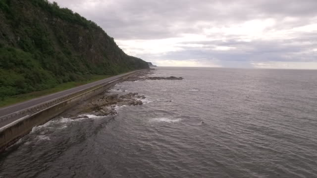 AERIAL VIEW of road and coastline