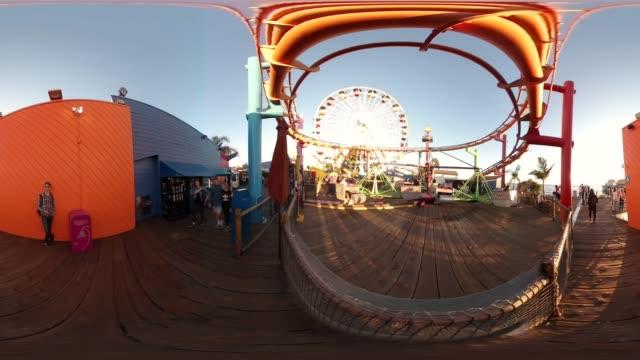360 vr of santa monica beach area - 360 stock videos & royalty-free footage