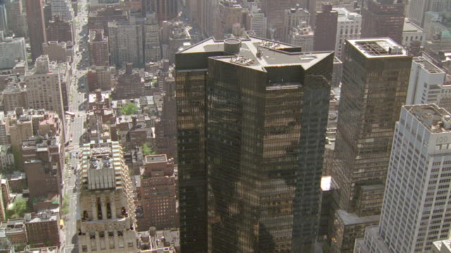 AERIAL of skyscrapers in midtown NYC