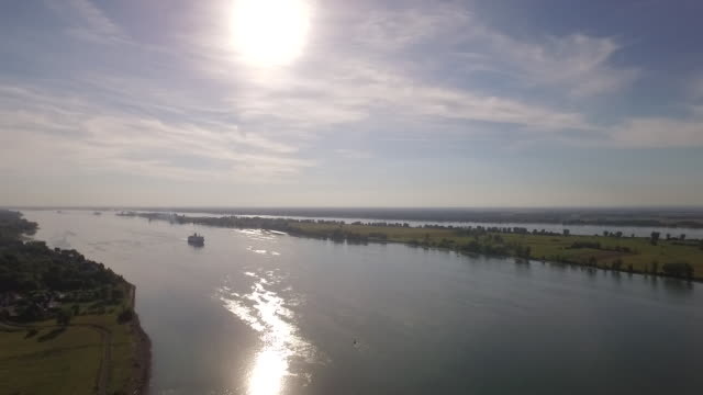 AERIAL VIEW of St. Lawrence River and cruise ship