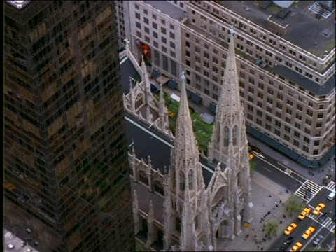 aerial of st patrick's cathedral in manhattan - st. patrick's cathedral manhattan stock videos and b-roll footage