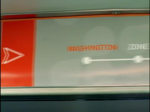 of subway line map stops, map... washington, zone, 9th street, 2nd avenue, 17th street, civic center... reverse - hinweisschild stock-videos und b-roll-filmmaterial