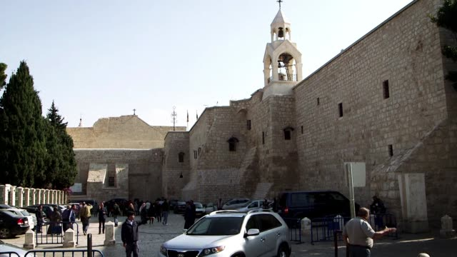 stockshots of the church of the nativity in bethlehem built on the site believed to be the birthplace of jesus - church of the nativity stock videos and b-roll footage