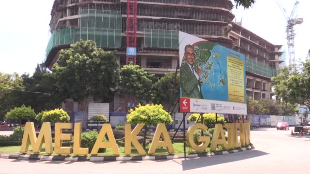 stockshots of the historic malaysian city of malacca and the melaka gateway project - malacca stock videos and b-roll footage