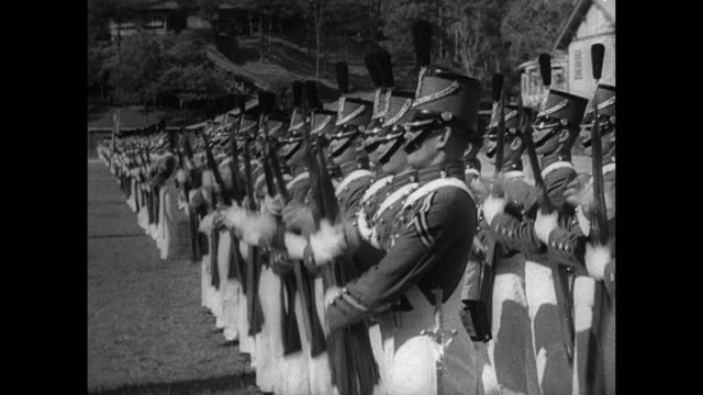 commonwealth of the philippines defense ha ws philippine military academy cadets in uniform marching in parade formation on open field ms cadets... - infantry stock videos and b-roll footage