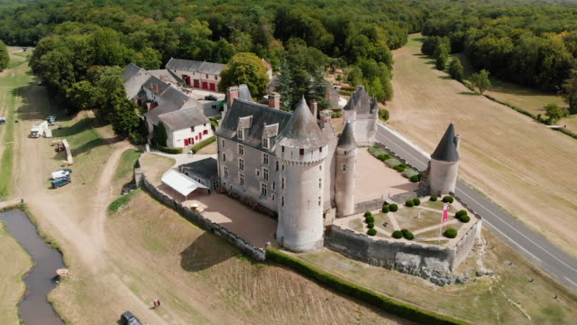 as of the picturesque montpoupon castle near montrichard, france - wop productions stock-videos und b-roll-filmmaterial