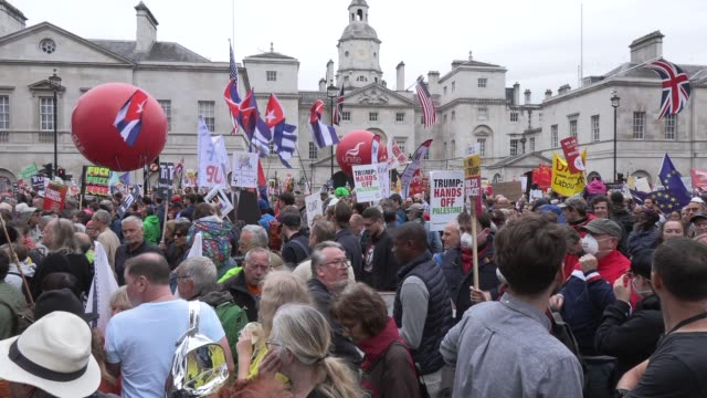 atmosphere of the protests against president donald trump on june 03 2019 in london england - donald trump us president stock videos and b-roll footage