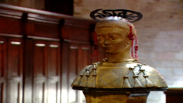 of the reliquary of saint maron in saint feliciano cathedral. during the crusades the relics of saint maron, founder of the maronite order, were sent... - the crusades stock videos & royalty-free footage