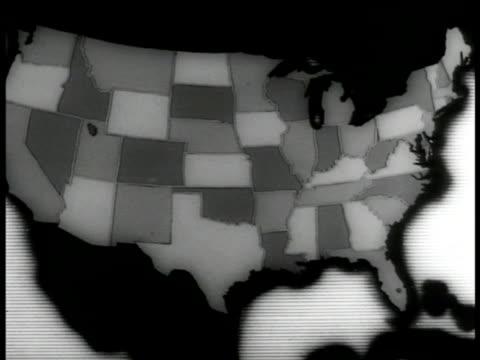 map of the united states highlighting the five states that ratified the child labor amendment darkening the 37 states that rejected - stati del mid atlantic usa video stock e b–roll
