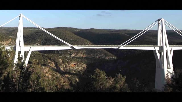 images of the wadi el kuf bridge built by italian architect riccardo morandi in the 70's near albaida northeastern libya - bridge built structure stock videos & royalty-free footage
