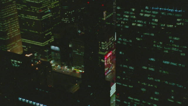 aerial of times square with traffic at night / nyc - anno 1994 video stock e b–roll