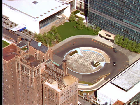 AERIAL of United Nations building in New York City