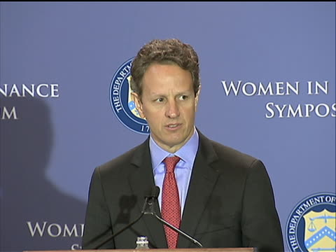 of u.s. secretary of the treasury timothy geithner discussing the importance of political parties uniting to form a long-term fiscal plan for the... - united states and (politics or government) stock videos & royalty-free footage