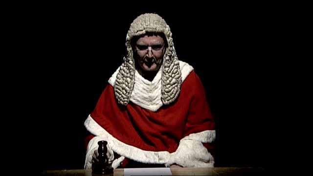 reconstruction of victorian judge sot stealing from a rabbit warren bangs gavel sot - gavel stock videos & royalty-free footage