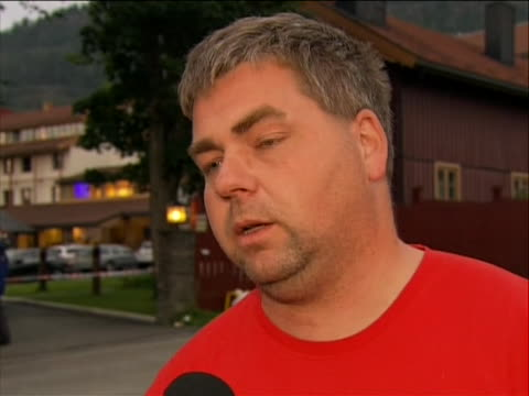 stockvideo's en b-roll-footage met sot of william foss a man waiting for word on a potential victim saying the norway attacks were unbelievable on july 22 a pair of terrorist attacks... - (war or terrorism or election or government or illness or news event or speech or politics or politician or conflict or military or extreme weather or business or economy) and not usa