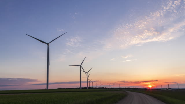 TL of wind farm in sunset