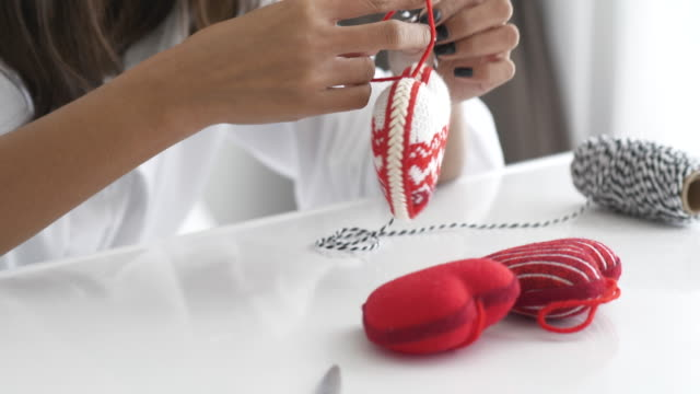 DIY of wool heart to present the signage of love; valentine's day concept