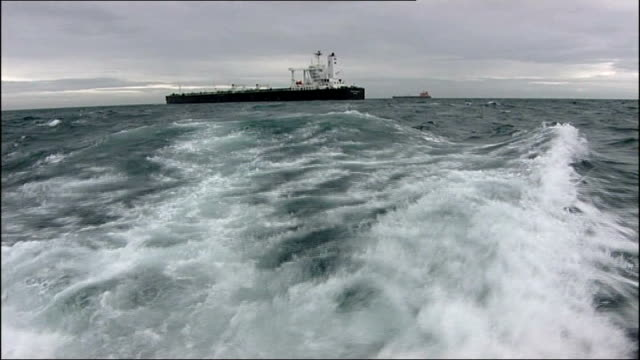 lyme bay oil tanker anchored in bay - anchored stock videos & royalty-free footage