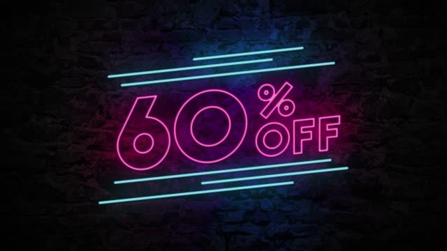 stockvideo's en b-roll-footage met 60% korting op neon teken op bakstenen achtergrond 4k-animatie - uitverkoop