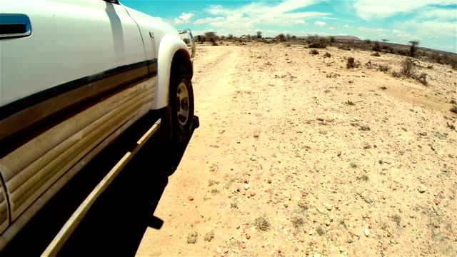 off road in desert in africa. tread on the tire close-up. - customized stock videos and b-roll footage