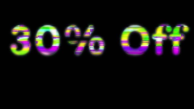 30% オフスキャンラインワード - パーセント記号点の映像素材/bロール