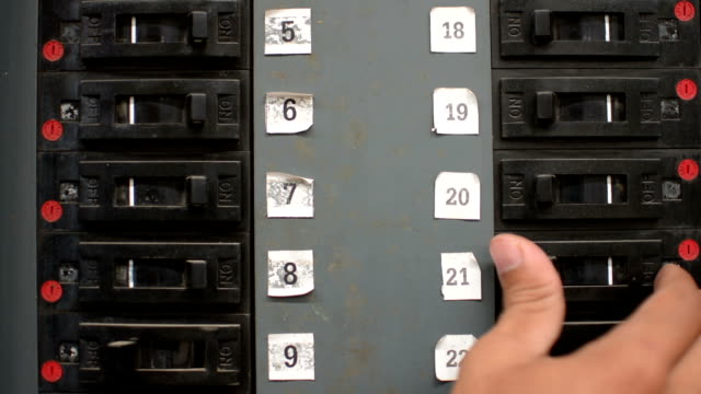 off toggle switches electric panel - fuse box stock videos and b-roll footage