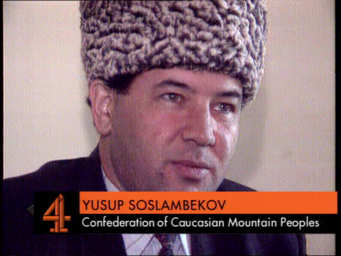 Ferry hijacking Offensive on Chechen rebels Ferry hijacking INT CMS Yusup Soslambekov intvw translation supered SOT We travel thru mountain passes...