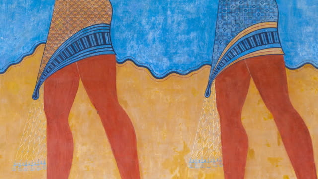 Offerings fresco in Knossos palace, Crete Island, Greece