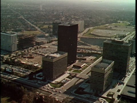 1970 AERIAL Office and shopping district in Century City, Los Angeles, California, USA, AUDIO