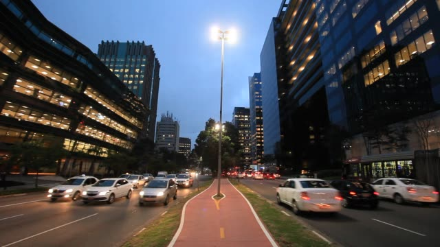 office building at faria lima avenue, sao paulo, brazil - road marking stock videos & royalty-free footage