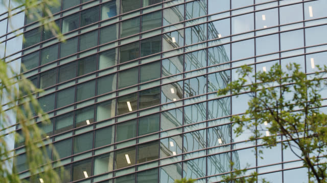 MS Office building windows in Shiodome with other building reflecting in windows / Tokyo, Tokyo-to, Japan