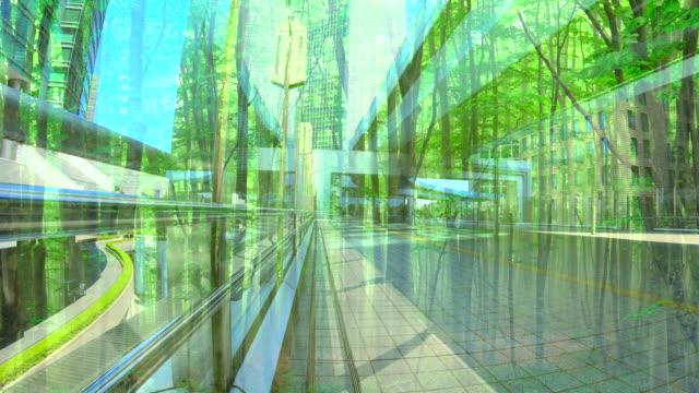 vidéos et rushes de bâtiment de bureau avec la forêt verte - végétation verdoyante