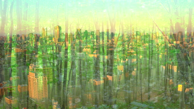 office building with green forest - ecosystem stock videos & royalty-free footage